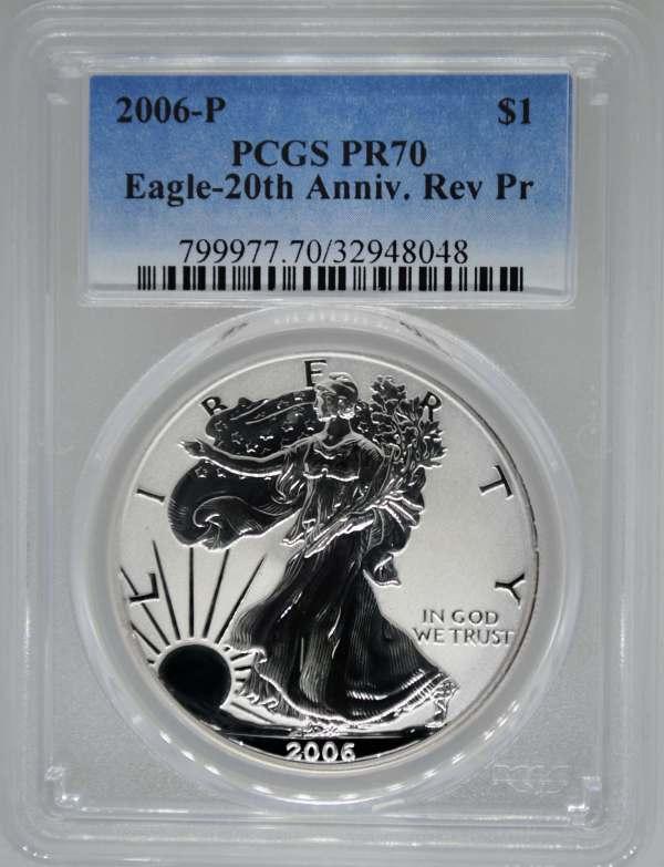 2006- Pcgs Pr70 Deep Cameo Reverse Proof Silver Eagle