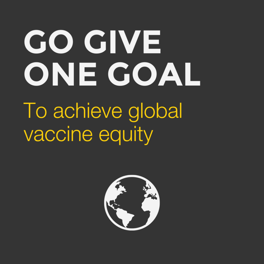Go Give One works toward global vaccine equity.