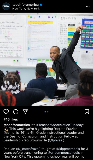 An example of Teach For America using the Teacher Appreciation Tuesday hashtag to engage with others.