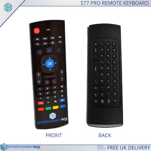 best Wireless keyboard S77 pro remote with front and back view