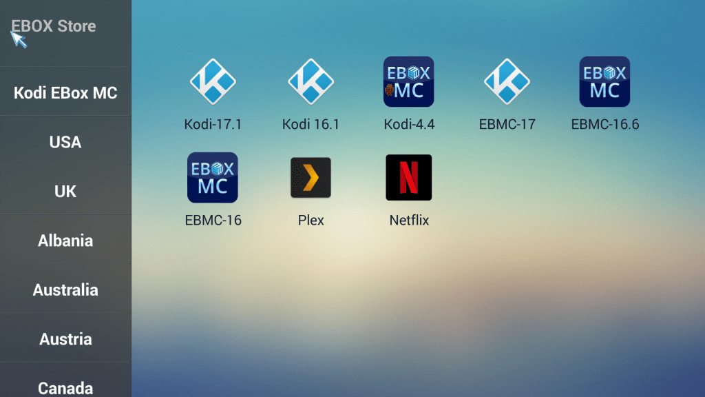 List of kodi in ebox store