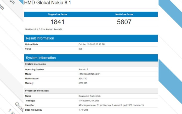 Nokia 8.1 Geekbench Android One