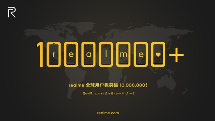 Realme reaches 10 million smartphones sold and joins 'big' manufacturers
