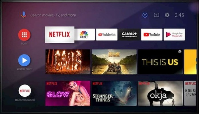Android TV interface example