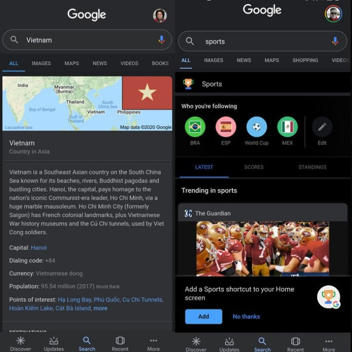 On the left side we have Dark Mode at this moment and on the right side the new version in Google Chrome Dark Mode
