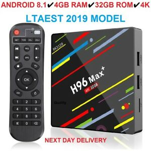 Android 8.1 H96 MAX+ 4GB 32GB TV Box Smart Media Player 2.4G/5G WIFI Penta-Core