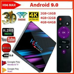 H96 Max TV Box 4G 16/32/64G Android 9.0 WiFi RK3318 USB Quad Core 4K Media Box
