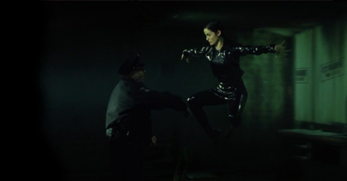 Trinity and the Bullet time effect in Matrix