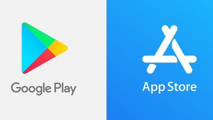 App Store and Play Store logo.