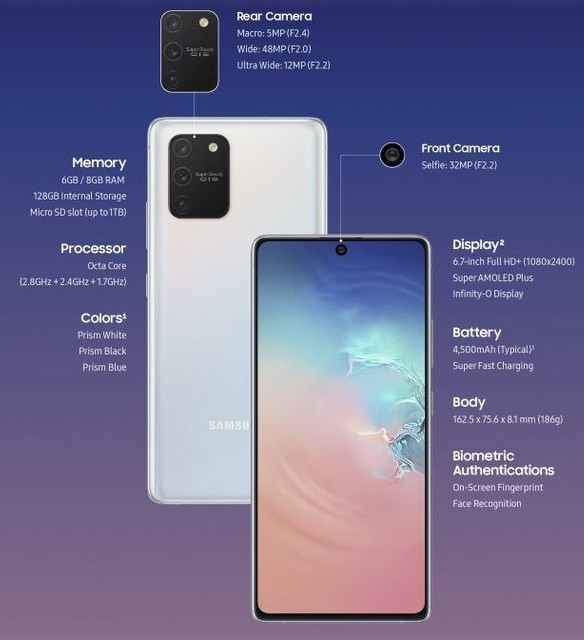 Samsung Galaxy S10 Lite specifications