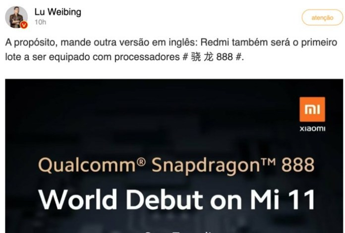 Lu Weibing, CEO of Redmi, confirmed Snapdragon 888