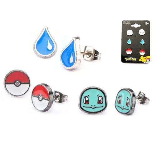 Pokemon Squirtle Poke Ball & Water Drop Stud Earrings 3