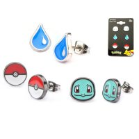Pokemon Squirtle Poke Ball & Water Drop Stud Earrings 3