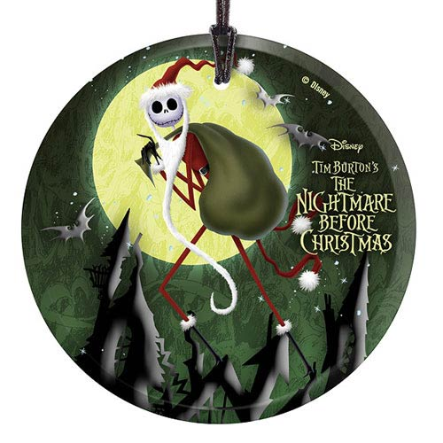 Nightmare Before Christmas Santa Jack Glass Print