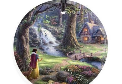 Snow White And The Seven Dwarfs Cottage Glass Print