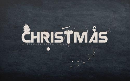 christmas typography wallpaper design
