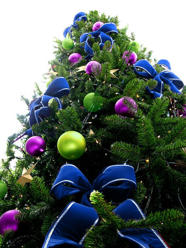 Blue Bead Christmas Tree with Violet & Green Ornaments