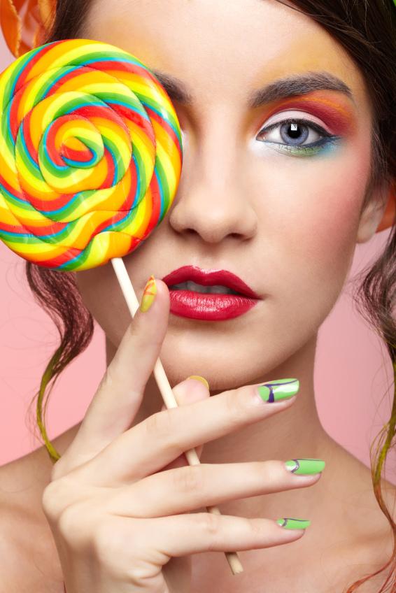 sweet lady with lollipop