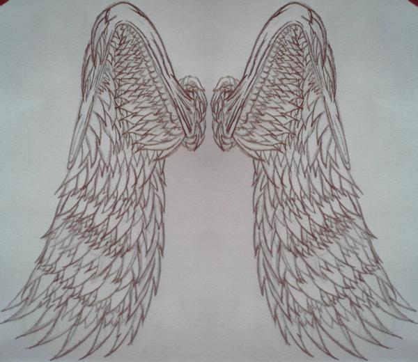 Angel wing Back piece tattoo