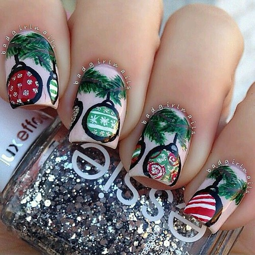Christmas Ornament nail design
