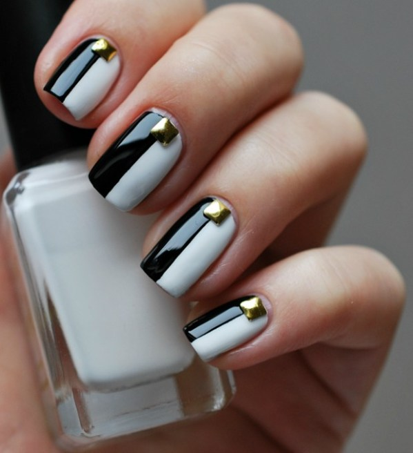 9 black and white nails designs