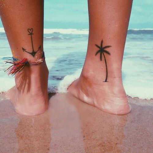 beatiful beach tree and anchor tattoo