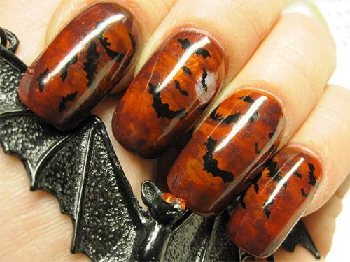 scary bats halloween nail art