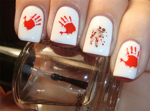 scary bloody halloween nails