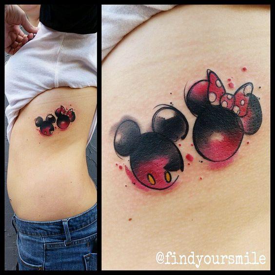 Mickey-Minnie-watercolor-tattoo