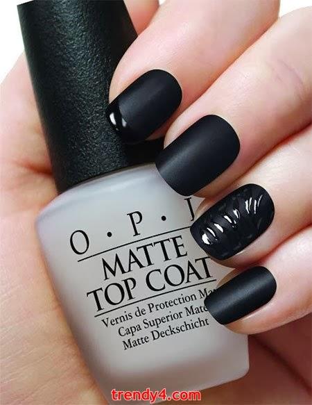 inspiring black nails design