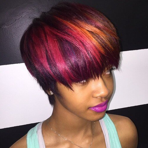 Pink and Orange Tone Bowl Cut