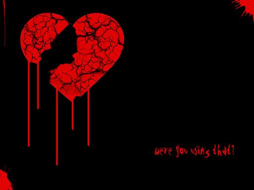 blood droping broken heart