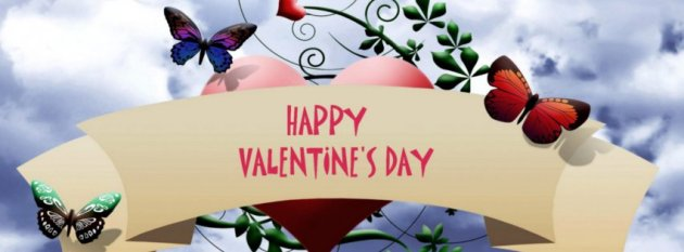 Happy valentine's day facebook wall cover photo