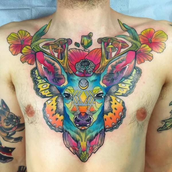 Magical Rainbow Chest Deer Tattoo