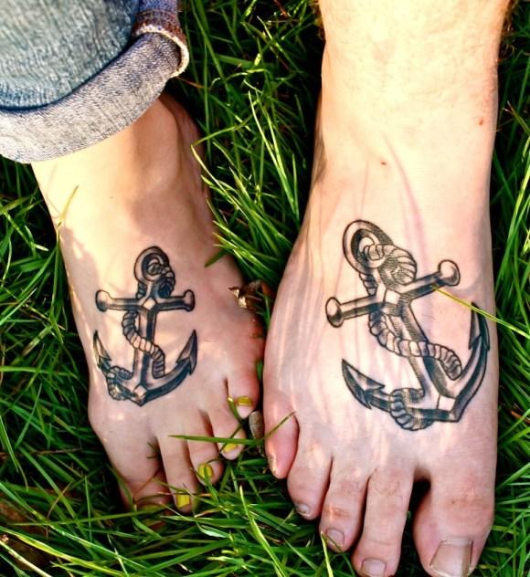 anchor couple tattoos feet