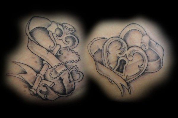 heart lock key tattoo