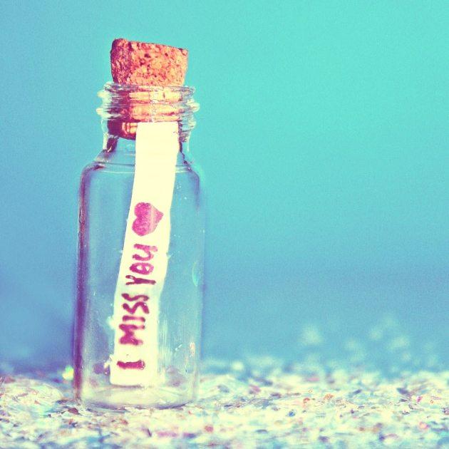 i miss you bottle message