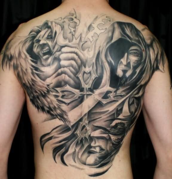 Grey inked angel and devil back tattoo