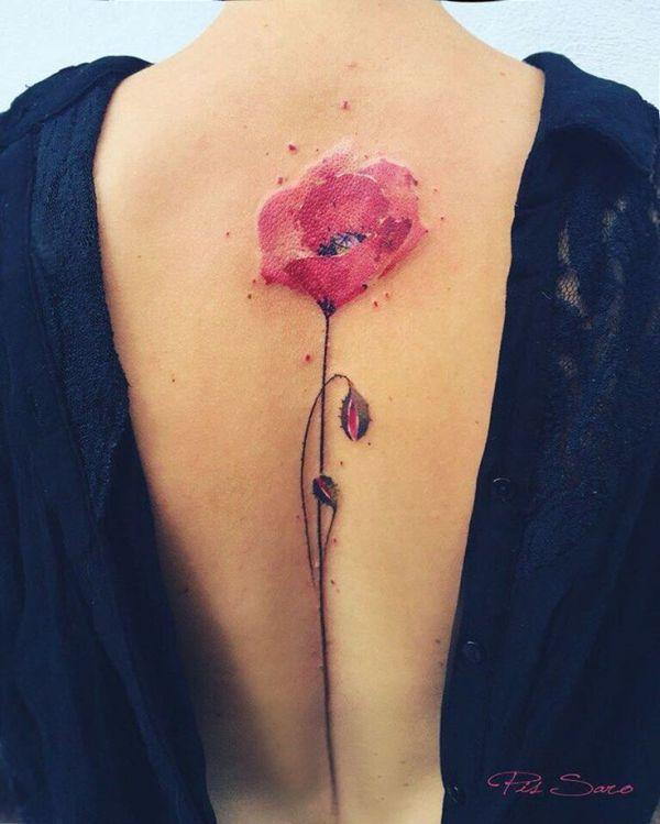 Lovely watercolor flower tattoo
