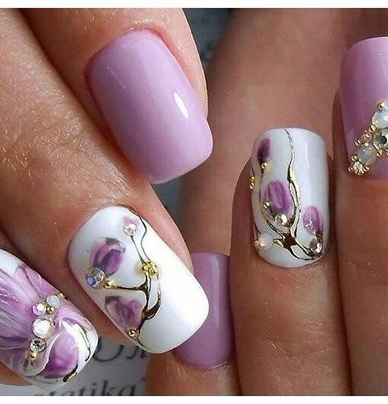 purple floral gems nail art