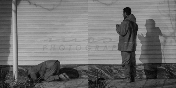 sweeper namaz prayer photo in street