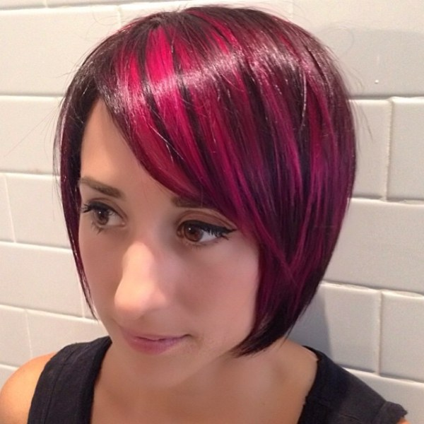 Short angled bob with low lights