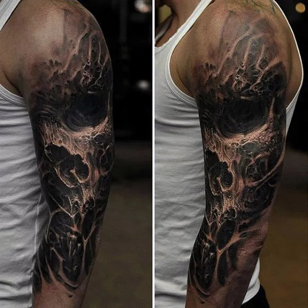 3d skull sleeve tattoo