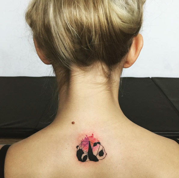 geometric panda behind neck tattoo