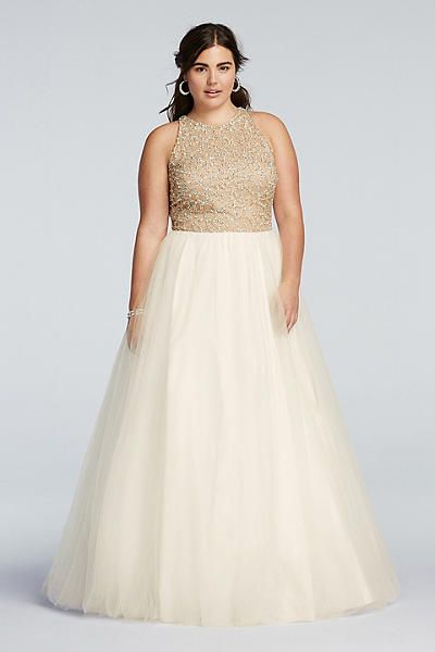 elegant stylish beaded dress with ball gown skirt for prom