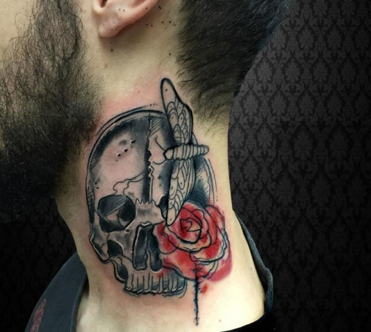 Butterfly, rose and skull tattoo design for men on neck