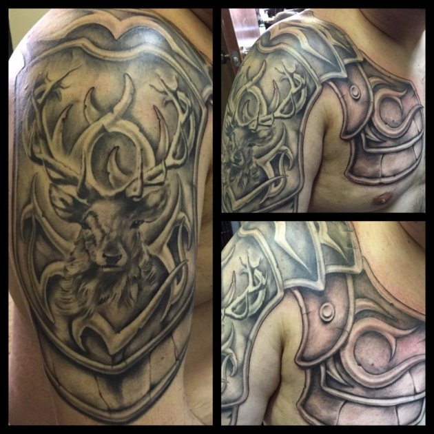 Deer Armor Shoulder Tattoo