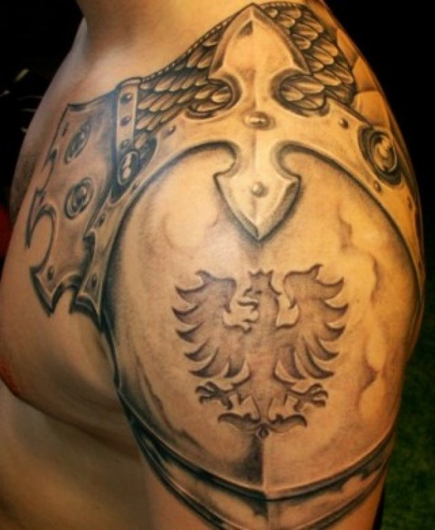 Dragon Shoulder Armor Tattoo For Men