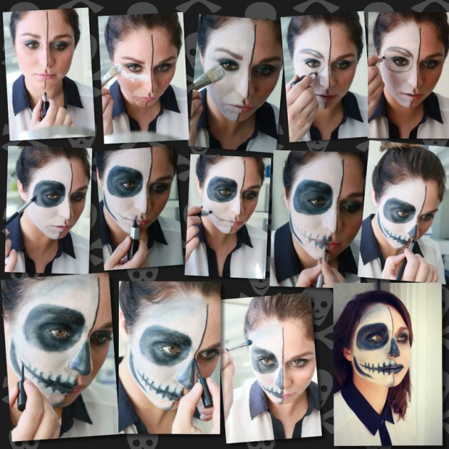 Half face Halloween paint tutorial