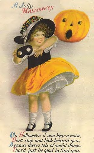 Vintage halloween girl and poem postcard